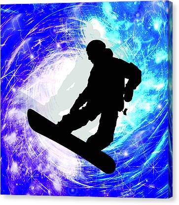 Snowboarder In Whiteout Canvas Print by Elaine Plesser