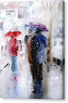 Snowing In The City Canvas Print by Steven Ponsford