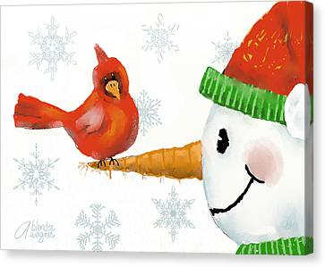 Snowman And The Cardinal Canvas Print by Arline Wagner