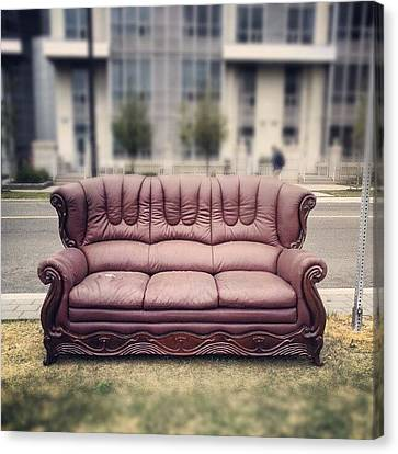 Sofa Canvas Print featuring the photograph #sofa #couch #seat #outside by Joy O
