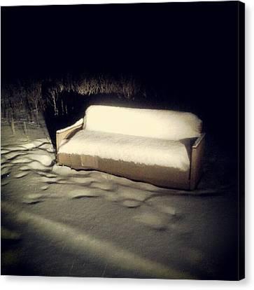Sofa Canvas Print featuring the photograph #sofa #snow #winter #field #night by Tatyana Radygina