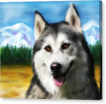 Smiling Siberian Husky  Painting Canvas Print by Michelle Wrighton