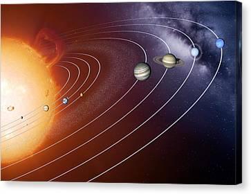 Solar System Orbits, Artwork Canvas Print by Detlev Van Ravenswaay