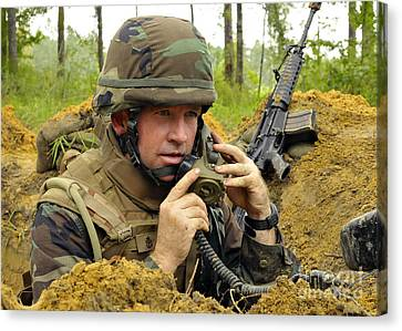 Soldier Using A Ta-1 Sound Powered Canvas Print by Stocktrek Images