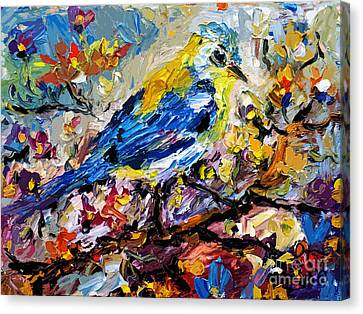 Songbird Blue In A Tree Canvas Print by Ginette Callaway