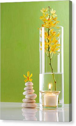 Spa Concepts With Green Background Canvas Print by Atiketta Sangasaeng