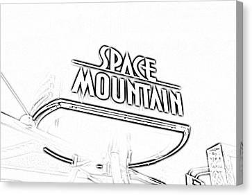 Space Mountain Sign Magic Kingdom Walt Disney World Prints Black And White Photocopy Canvas Print by Shawn O'Brien