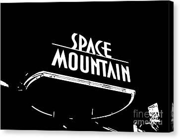 Space Mountain Sign Magic Kingdom Walt Disney World Prints Black And White Stamp Canvas Print by Shawn O'Brien