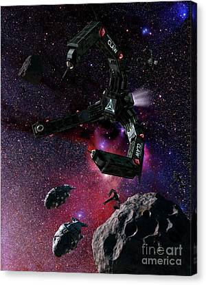Space Scene Inspired By The Novels Canvas Print by Rhys Taylor