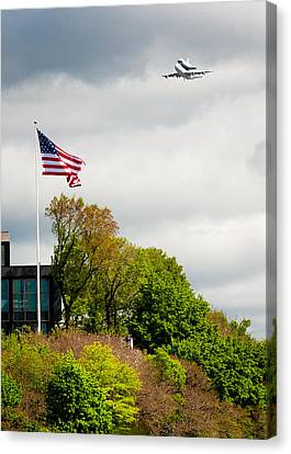 Space Shuttle Enterprise With Us Flag Canvas Print by Anthony S Torres