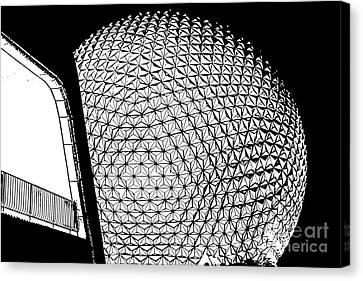 Spaceship Earth And Futuristic Walkway Epcot Walt Disney World Prints Stamp Canvas Print by Shawn O'Brien