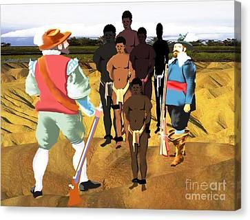 Spaniards Capturing Slaves Canvas Print by Belinda Threeths