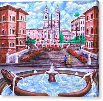 Spanish Steps - Trinita Dei Monti Church Canvas Print by Ronald Haber