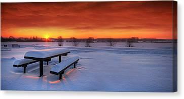 Spectaculat Winter Sunset Canvas Print by Jaroslaw Grudzinski
