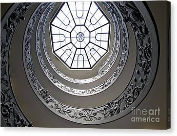 Spiral Staircase In The Vatican Museums Canvas Print by Bernard Jaubert