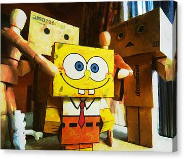 Spongebob Always Loves The Group Hugs Canvas Print by Steve Taylor