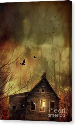 Spooky House At Sunset  Canvas Print by Sandra Cunningham