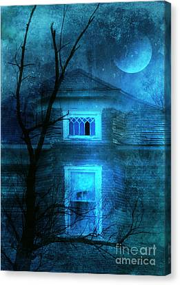 Spooky House With Moon Canvas Print by Jill Battaglia