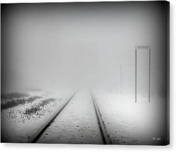 Spooky Train Tracks Canvas Print by Ms Judi