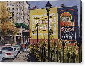 Spring Street At Basin Park Canvas Print by Sam Sidders