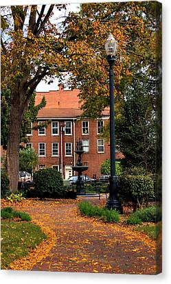 Square In Lisbon Ohio Canvas Print by Michelle Joseph-Long
