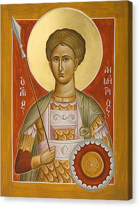 St Demetrios The Myrrhstreamer Canvas Print by Julia Bridget Hayes