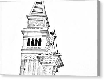 St Marks Bell Tower And Statue Italy Pavilion Epcot Walt Disney World Print Black And White Line Art Canvas Print by Shawn O'Brien