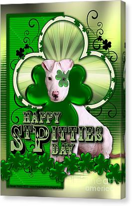 St Patricks - Happy St Pitties Day Canvas Print by Renae Laughner