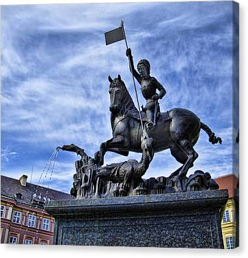 St Vitus Cathedral - St George Statue  Canvas Print by Jon Berghoff