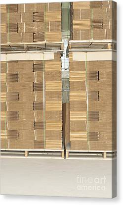 Stacks Of Corrugated Boxes Canvas Print by Shannon Fagan