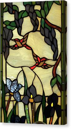 Stained Glass Humming Bird Vertical Window Canvas Print by Thomas Woolworth