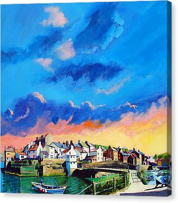 Staithes At Sundown Canvas Print by Neil McBride