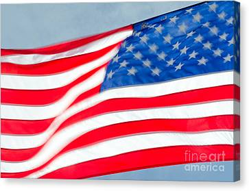 Stars And Stripes Waving Usa Flag In A Strong Wind Canvas Print by Andy Smy