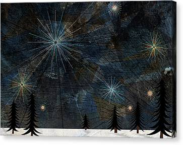 Stars Glistening In The Sky Above Pine Trees And Snow On The Ground Canvas Print by Jutta Kuss