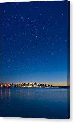Stars Over Vancouver, Canada Canvas Print by David Nunuk