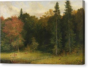 Startled Foresters Canvas Print by Richard Redgrave
