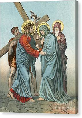 Station Iv Jesus Carrying The Cross Meets His Most Afflicted Mother Canvas Print by English School