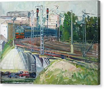Station Near To Moscow Canvas Print by Juliya Zhukova
