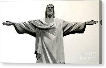 Statue Of Jesus In Rio Canvas Print by Claudiu Radulescu