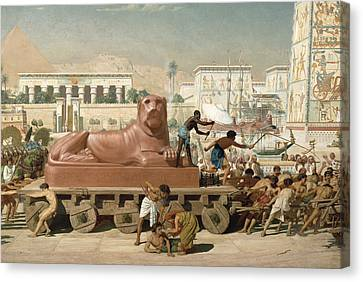 Statue Of Sekhmet Being Transported  Detail Of Israel In Egypt Canvas Print by Sir Edward John Poynter