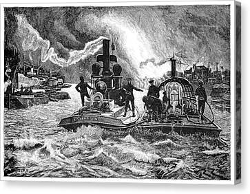 Steam Fireboats, 19th Century Canvas Print by