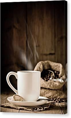 Steaming Coffee Canvas Print by Amanda Elwell