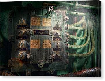 Steampunk - Naval - Electric - Lighting Control Panel Canvas Print by Mike Savad
