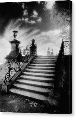 Steps At Chateau Vieux Canvas Print by Simon Marsden