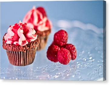 Sticky Raspberry Chocolate Cupcake Canvas Print by Birgitta Forsberg
