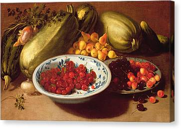 Still Life Of Cherries - Marrows And Pears Canvas Print by Italian School