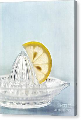 Still Life With A Half Slice Of Lemon Canvas Print by Priska Wettstein