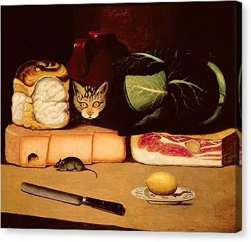 Still Life With Cat And Mouse Canvas Print by Anonymous