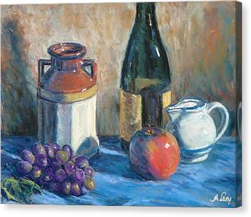 Still Life With Crock And Apple Canvas Print by Michael Camp