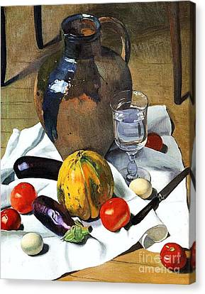 Still Life With Earthenware Jug Canvas Print by Pg Reproductions